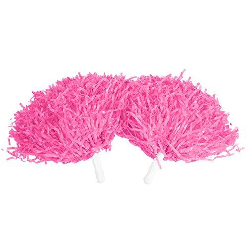Cheerleader Pompons, Chearleader Pom Poms Cheerleading für Sport Party Dance Zubehör 2 Stück(Pink)