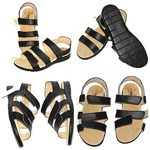 Mujer Cuero Negro Extra Ancho (EEE) Ortopédica Diabética Roma Gladiador Sandalia Enfermera Hospital Salud Talla Zapato, color Negro, talla 36 EU