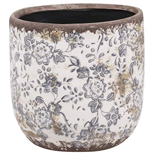 Chic Antique - Portavaso in Ceramica, Stile Shabby Chic, 14 x 14 cm, Colore: Crema/Marrone/Blu