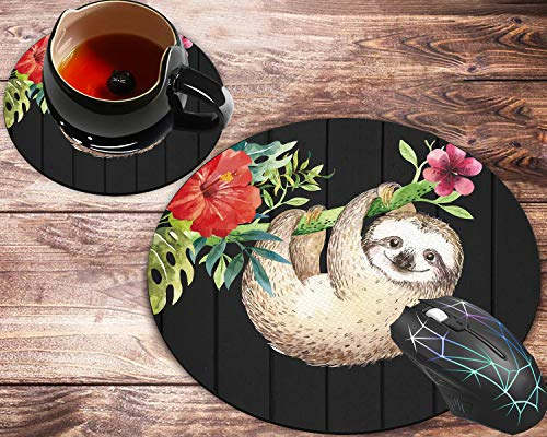 Round Mouse Pad, Cute Baby Sloth on The Tree Rustic Floral Wood Designs Non-Slip Rubber Base Gaming Mouse Pads and Coaster Set for Working Or Game, Desk Accessories, Cool Mouse Pad