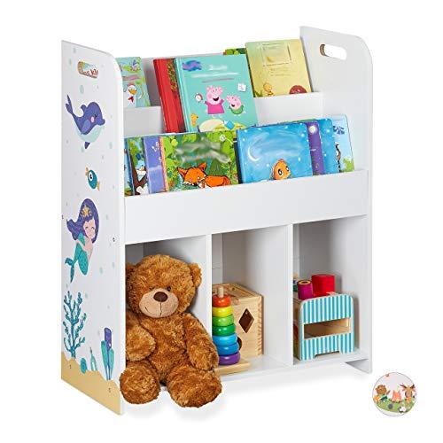 Relaxdays Kinderregal, Spielsachen & Bücher, Mädchen & Jungs, Meerjungfrau Motiv, Spielzeugregal, 75 x 62 x 29 cm, weiß