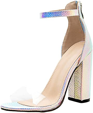 $24 » Cenglings Pumps,Women's Open Toe Print High Chunky Heel Pumps Buckle Fluorescent Sandals Nightclub Ankle Strap Shoes