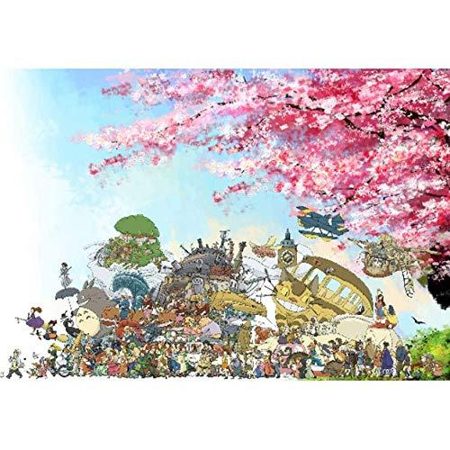 Jqchw Animado rompecabezas madera Hayao Miyazaki Totoro