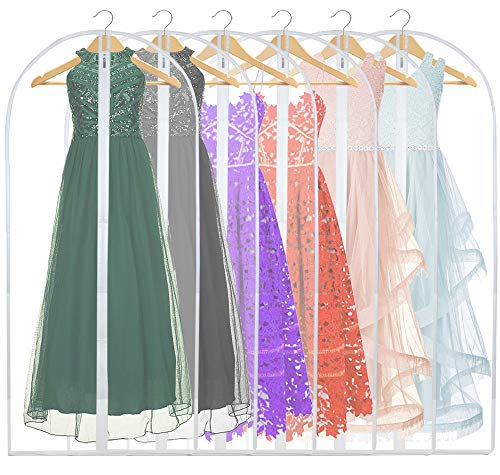FABISHON Garment Bags 60 Inch Lightweight Suit Bags Proof Clear Garment Covers Bags with Full Zipper Storage for Suits Dresses Pack of 6