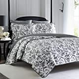 Laura Ashley Home | Amberley Collection | Luxury Premium Ultra Soft Quilt Coverlet, Comfortable 3 Piece Bedding Set, All Season Stylish Bedspread, King, Black/White