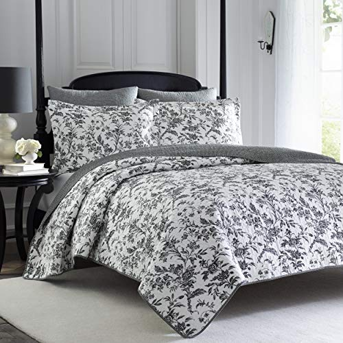 Laura Ashley | Amberley Collection | Luxury Premium Ultra Soft Quilt Coverlet, Comfortable 3 Piece Bedding Set, All Season Stylish Bedspread, King, Black/White