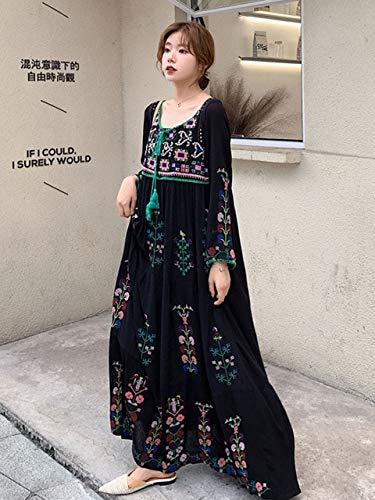nobrand Summer Loose Big Size Langes Kleid Bohemian Travel Seaside Holiday Kleid National Style Besticktes Kleid M Schwarz