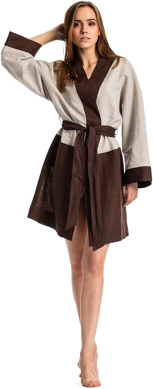 ETNODIM Women Bathrobe Linen Brown Beige Long Sleeve Robe Spa Bathrobe Luxury Robe