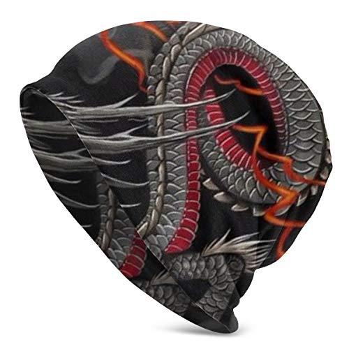 Women Men Stylish Hip-hop Slouchy Beanie Hat Stretchy Soft Daily Skull Cap Lightweight Stretch Sleep Hat - Black Red Chinese Dragon Dragon Ball Art