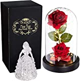 Beauty and The Beast Rose by Mose Rose Enchanted Rose Kit Light Decor Home Decor – Glass Rose Artificial Flowers Great for Her, Valentines Day Decorations for The Home