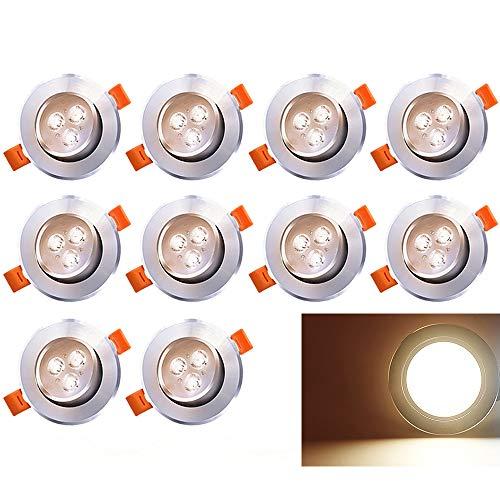 Hengda 10 LED Einbaustrahler Schwenkbar 230V Einbauspot 3W Leuchtmittel Warmweiss 10er Set Deckenstrahler