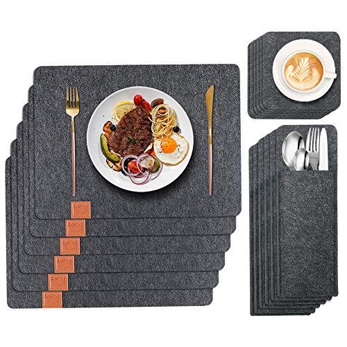 GoMaihe Platzset (44 × 32 cm), mit Untersetzer und Besteckbeutel, Platzset Abwischbar/rutschfest Tischset für Esstisch/Filzuntersetzer/Platzdecken, Grau, MEHRWEG
