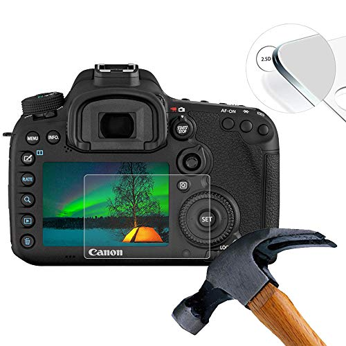 Lusee 2 X Pack (volledige dekking) Gehard glas Camera Screen Protector Film voor Canon 7D Mark II / 7D2 Hardglass Display Screenprotector 9H 0.3mm