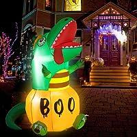 HOOJO 6 FT Halloween Inflatables Pumpkins Dinosaur Outdoor Halloween Decorations
