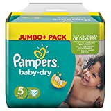 Pampers Baby Dry Taille 5 junior 11-25kg Jumbo Pack Plus (1 x 72 couches)