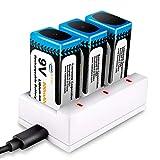Juego de 3PCS 9V Pilas Recargables y Cargador de 3 Ranuras, Keenstone 800mAh Batería de Litio 9V PP3 Recargable Baja Autodescarga Densidad de Alta Energía 500 Ciclos de Carga (Cable USB Incluido)