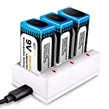 9V Batteria Li-ion Ricaricabile, Keenstone 3pcs 800mAh 9V PP3 Batterie agli Ioni di Litio ...