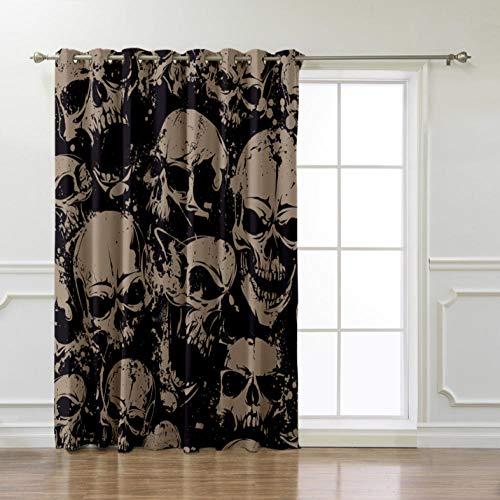 ZLXSAM Vorhänge Curtain Grau Schwarz Totenkopf L110 X98 W/280X250Cm 2Er Set Gardine Dekoschals Thermo Gardinen Blickdicht Schlafzimmer Ösenschal