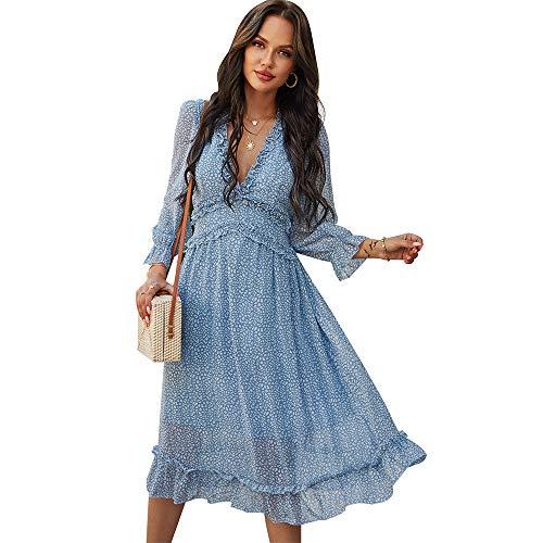 Vestido con Cuello en V de Gasa con Capas de Volantes para Mujer Vestidos a Media Pierna con Estampado Floral y Manga Larga (Azul, M)