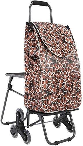 CENPEN Carro de la compra escaleras plegable carro de equipaje carro carro con sillas carro de compras portátil carretilla carros grueso resistente al desgaste impermeable