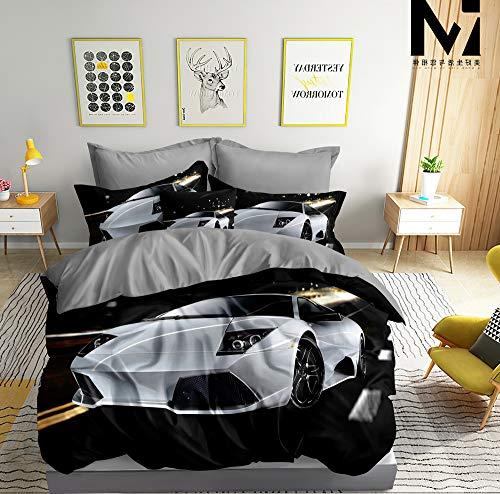 Ropa de cama 3D con diseño de coche deportivo, color blanco, funda nórdica de 135 x 200 cm + 80 x 80 cm, doble cara, negro, blanco y gris, con cierre