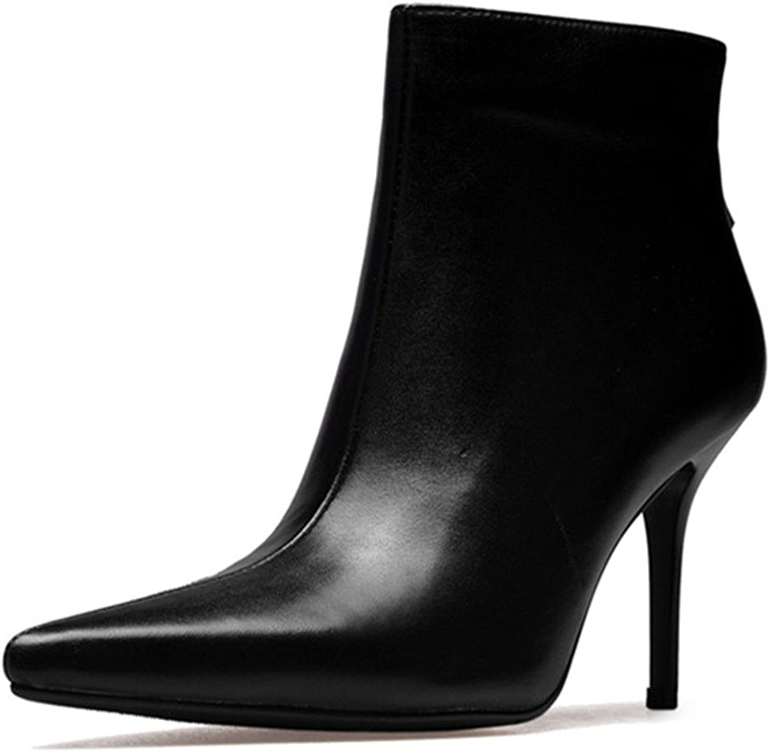 Nine Seven Cow Leather Women's Pointed Toe Stiletto High Heel Eleagnt Fashion Handmade Dress Ankle High Booties