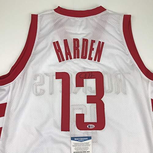 Autographed/Signed James Harden Houston White Basketball Jersey Beckett BAS COA