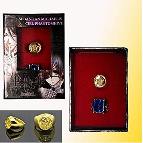 TOSSPER Black Butler Ciel Phantomhive Cosplay Blau goldene Kristall Paare 2 Ring