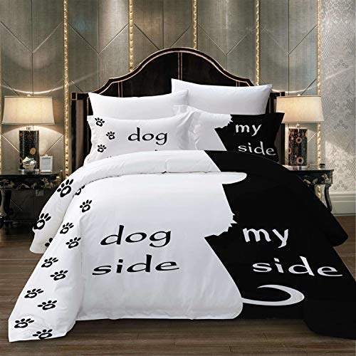 USTIDE Dog and My Side Black Duvet Quilt Cover With Pillowcase Bedding Set King Size