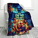 Jekeno Owl Blanket Print Comfort Soft Warm Glow Owl Throw Blanket for Kids Adults Gift 50'x60'