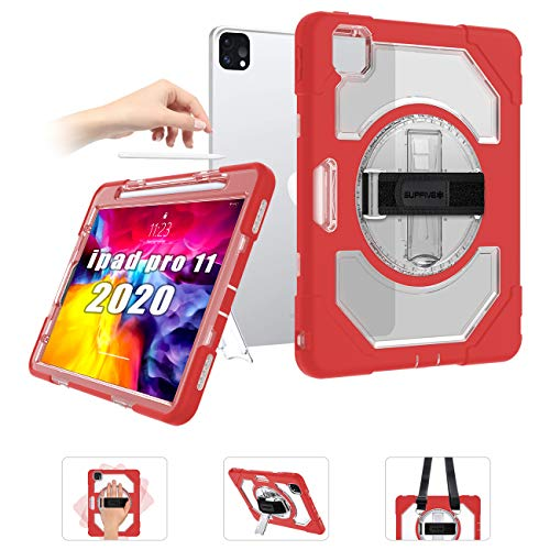SUPFIVES Case for iPad Pro 11 inch 2020 (2ND Gen) with Strap, Three-Layer Heavy Duty Armor Protective Cover iPad Case [Air-Pillow Edge Bumper] [Wireless Apple Pencil Charging] [Rotating Kickstand]