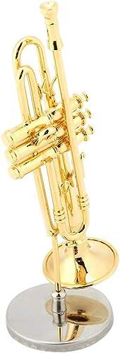 Miniature Modèle d'Instrument de Musique Plaqué Or Réplique de Saxophone Trompette avec étui etSupport Cadeau Unique