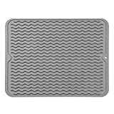 MicoYang Silicone Dish Drying Mat for Multiple Usage,Easy clean,Eco-friendly,Heat-resistant Silicone Mat for Kitchen Counter or Sink,Refrigerator or drawer liner-Grey L (16'x12')