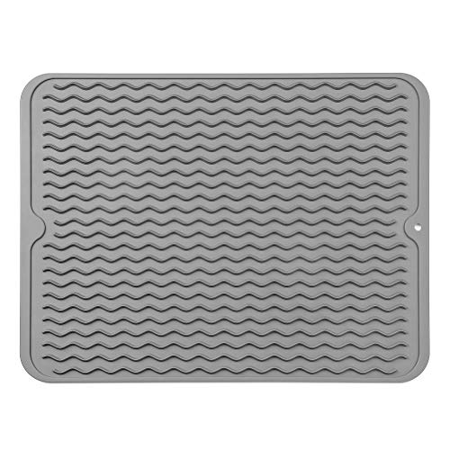 MicoYang Silicone Dish Drying Mat for Multiple Usage,Easy Clean,Eco-friendly,Heat-resistant Silicone Mat for Kitchen Counter or Sink,Refrigerator or Drawer Liner Grey L 16 inches x 12 inches