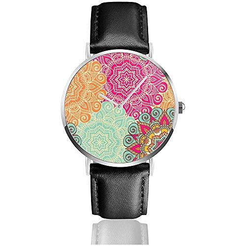 Imprimir en Tela o Papel Mujeres Hombres Señora Chica Adolescente PU Relojes de Pulsera de Cuero Relojes de Pulsera