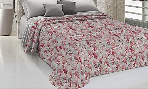 HomeLife Frühling Sommer leichte Tagesdecke [170x280], Qualität aus Italien|Hergestellt aus hochwertiger Baumwolle|Korallen Meer Motiv|Einzelbettdecke aus feinem Stoff für warme Jahreszeiten Rot