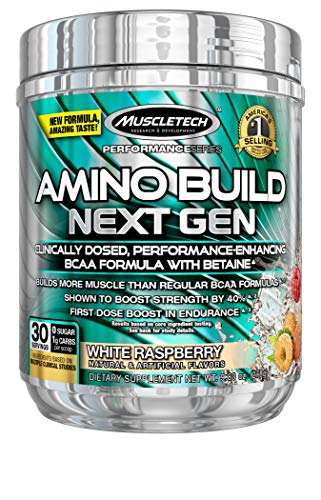 BCAA Amino Acids + Electrolyte Powder | MuscleTech Amino Build | 7g of BCAAs + Electrolytes | Support Muscle Recovery, Build Lean Muscle & Boost Endurance | White Raspberry (30 Servings)