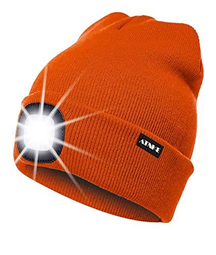 ATNKE LED beleuchtete Mütze, wiederaufladbare USB-Laufmütze mit extrem Heller 4-LED-Lampe und Blinkender Alarmscheinwerfer/Leuchtend orange