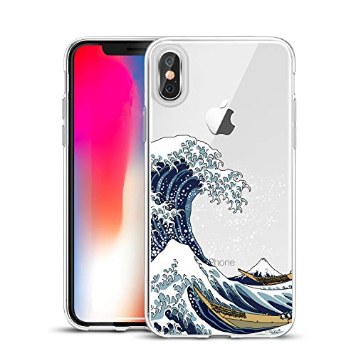Unov Compatible Case Clear with Design Slim Protective Soft TPU Bumper Embossed Pattern Protective Back Cover for iPhone Xs (2018) iPhone X (2017) 5.8 Inch (Great Wave)