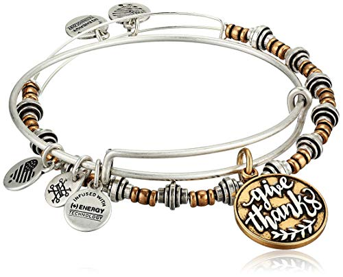 Alex and Ani Give Thanks Set of 2, Two Tone Bangle Bracelet, Rafaelian Silver, Expandable