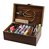 MissLytton Sewing Kit Box Basket, Wooden Hand Home Sewing Repair Tool Kit, Beginner Universal Sew Kit Accessories for Women, Men, Adults, Girls, Kids (Retro Dandelion)