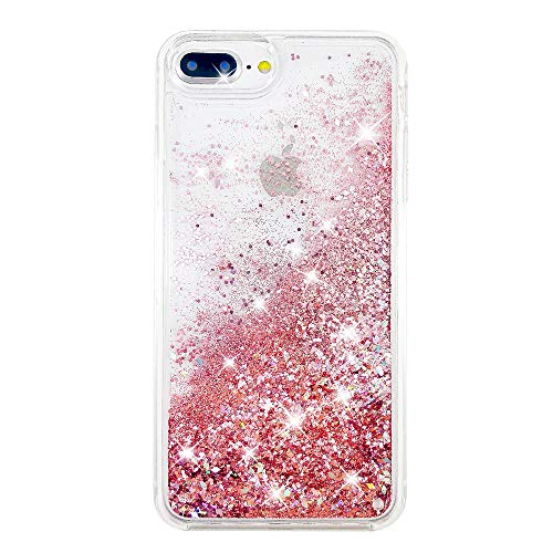 uCOLOR Rose Pink Glitter Case for iPhone 7 Plus iPhone 8 Plus Case iPhone 6S Plus/6 Plus Case (5.5') Sparkle Quicksand Liquid Waterfall Clear Protective Case for iPhone 7 Plus/8 Plus/6s Plus/6 Plus