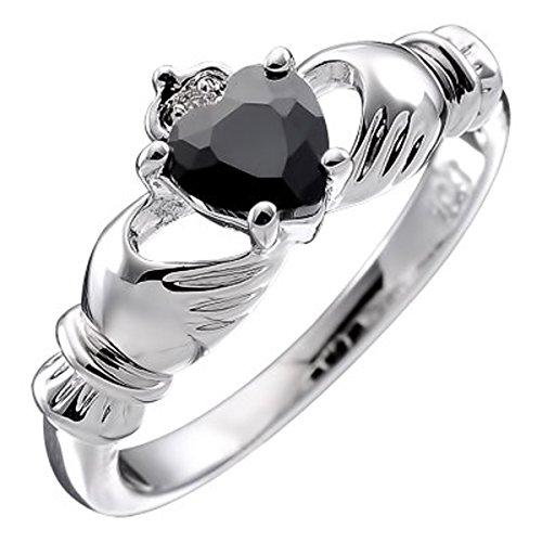 GWG Jewellery Anillos Mujer Regalo Anillo de Claddagh Plata de Ley Dos Manos Que Rodean Corazón de Circonita Negro con Corona - 6 para Mujeres