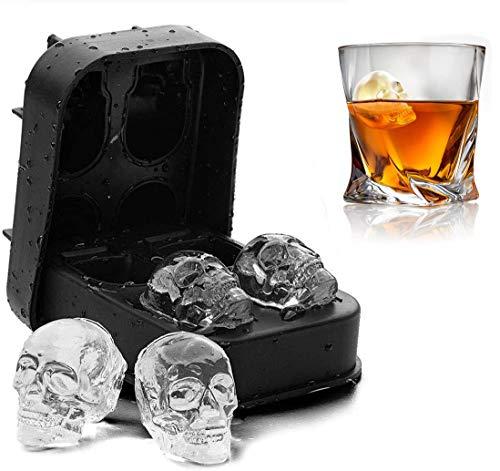 YFOX Stampo per cubetti di Ghiaccio a Forma di Teschio 3D Adatto per Cocktail di Whisky freschi Stampo per cubetti di Ghiaccio in Silicone flessibile-100% Silicone Alimentare Senza BPA (Nero)