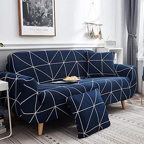 Elastischer Sofabezug Geometrisch Bedruckte Pattern Sofabezüge Blau Und Weiß 3 Sitzer Antirutsch Stretchhusse Sofahusse Couchhusse Mit 2 Zierkissenbezüge,Für L Form Sofa Couch Sessel (195-230Cm)