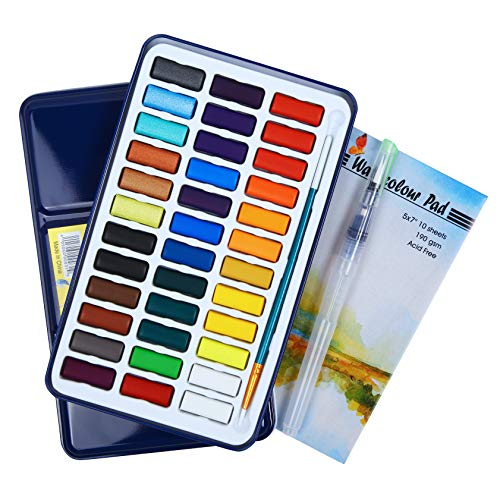 Watercolor Paint Set by Falling in Art, 36 Water Cakes Pan with 2 Water Brushes and 10 Sheets Paper Pad