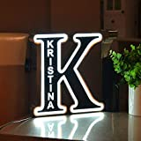 Personalized Decor Led Night Light Marquee Letter Stailness Steel Lights Custom Metal Sign Engraved Name Wall Light for Bedroom Christmas Wedding - Best Gift for Family Lovers Friends Letter K