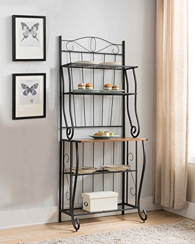 Kings Brand Furniture Black / Walnut 5-Tier Kitchen Storage Bakers Rack