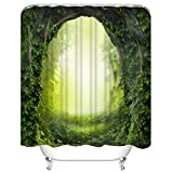 Y·JIANG Rideau de douche en forme de tunnel naturel avec 12 crochets sans doublure nécessaire pour salle de bain, 182,9 x 182,9 cm