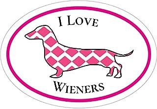 WickedGoodz Oval Pink I Love Wieners Dachshund Vinyl Decal - Dog Bumper Sticker - Perfect Dachshund Owner Gift